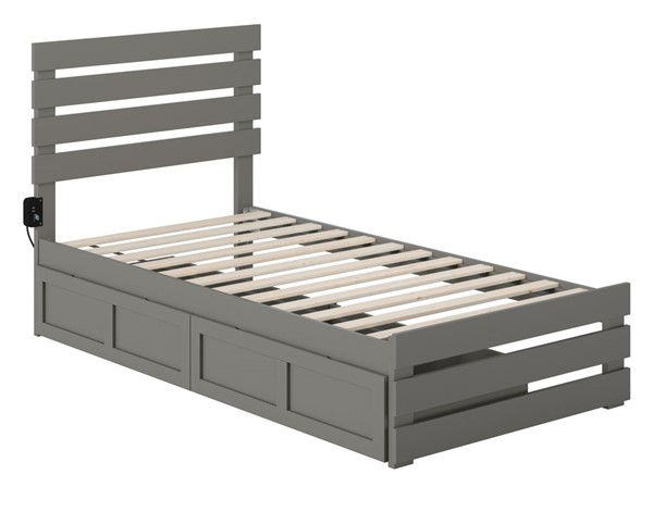 Atlantic Furniture Oxford Grey Footboard and USB Turbo Charger Twin Two Drawers Bed AG8363329