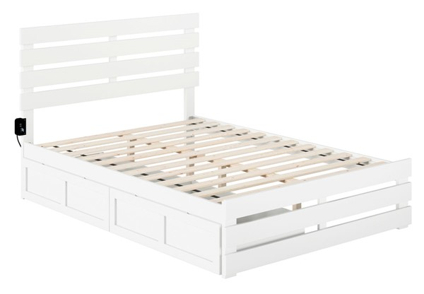 Atlantic Furniture Oxford White Footboard and USB Turbo Charger Full Two Drawers Bed AG8363332