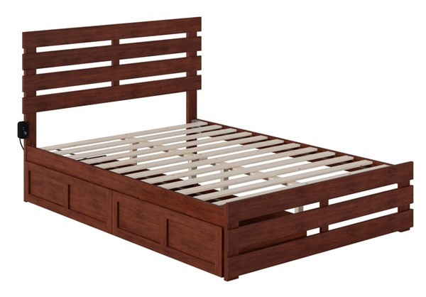 Atlantic Furniture Oxford Walnut Footboard and USB Turbo Charger Full Two Drawers Bed AG8363334