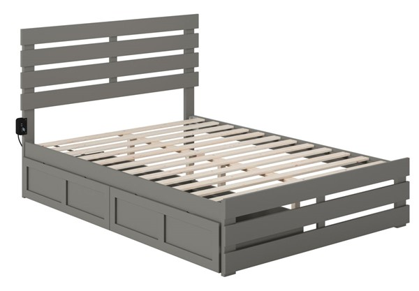 Atlantic Furniture Oxford Grey Footboard and USB Turbo Charger Full Two Drawers Bed AG8363339