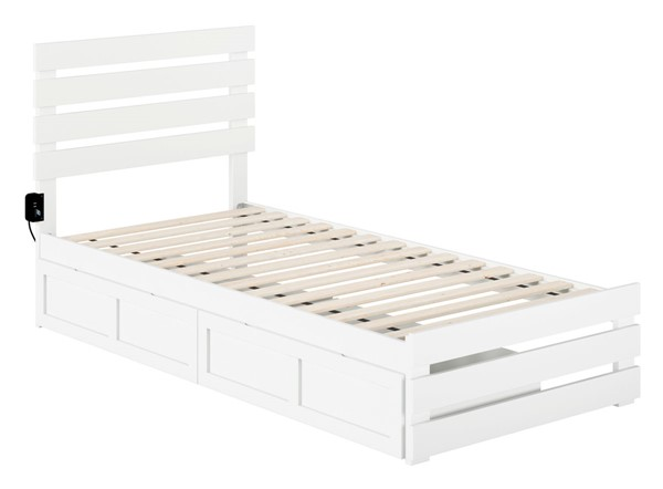 Atlantic Furniture Oxford White Footboard and USB Turbo Charger Twin XL Two Drawers Bed AG8363412