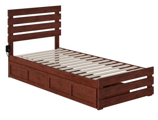 Atlantic Furniture Oxford Walnut Footboard and USB Turbo Charger Twin XL Two Drawers Bed AG8363414