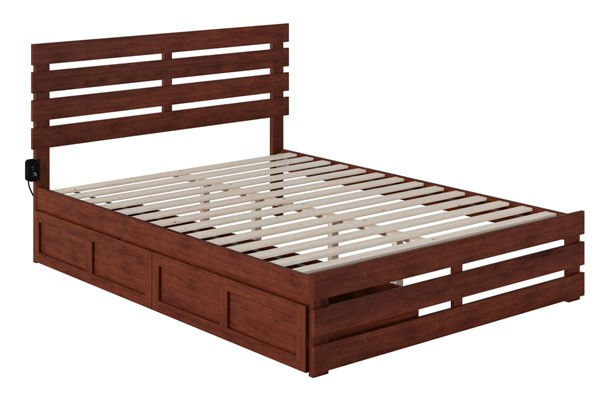 Atlantic Furniture Oxford Walnut Footboard and USB Turbo Charger Queen Bed with Two XL Drawers AG8363444