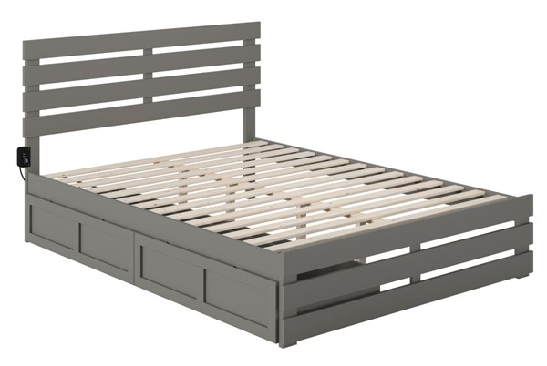 Atlantic Furniture Oxford Grey Footboard and USB Turbo Charger Queen Bed with Two XL Drawers AG8363449
