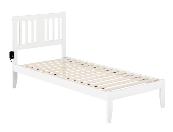 Atlantic Furniture Tahoe White Twin Extra Long Bed with USB Turbo Charger AG8910012