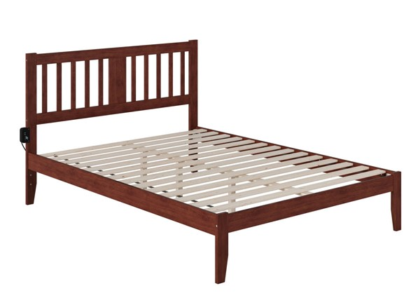 Atlantic Furniture Tahoe Walnut Queen Bed with USB Turbo Charger AG8910044