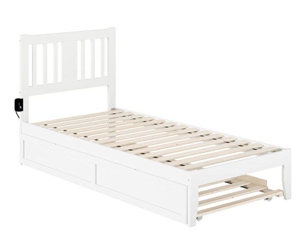 Atlantic Furniture Tahoe White Extra Long Trundle Beds with USB Turbo Charger B08PW165-TRN-BED-VAR