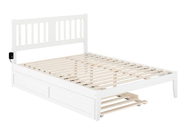 Atlantic Furniture Tahoe White Queen Trundle Bed with USB Turbo Charger AG8911142
