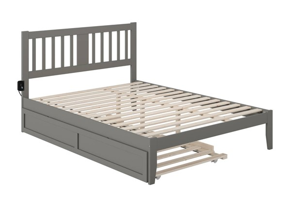 Atlantic Furniture Tahoe Grey Queen Trundle Bed with USB Turbo Charger AG8911149