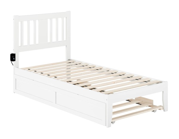 Atlantic Furniture Tahoe White Twin Trundle Bed with USB Turbo Charger AG8911222