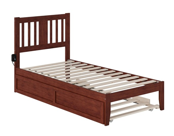 Atlantic Furniture Tahoe Walnut Twin Trundle Bed with USB Turbo Charger AG8911224