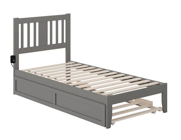 Atlantic Furniture Tahoe Grey Twin Trundle Bed with USB Turbo Charger AG8911229