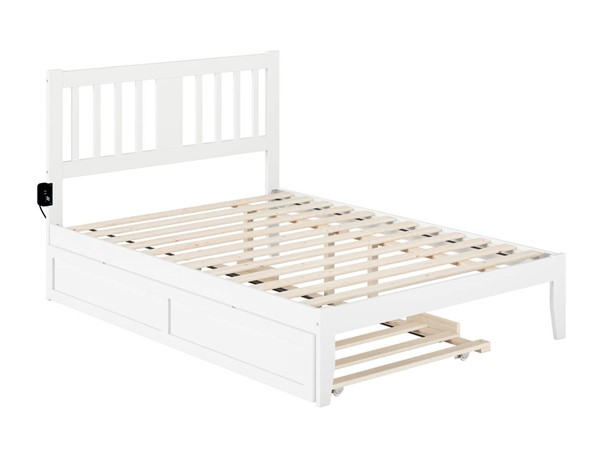 Atlantic Furniture Tahoe White Full Trundle Bed with USB Turbo Charger AG8911232