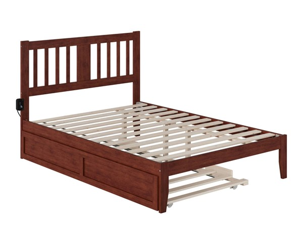 Atlantic Furniture Tahoe Walnut Full Trundle Bed with USB Turbo Charger AG8911234