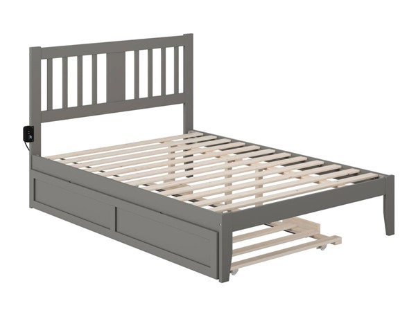 Atlantic Furniture Tahoe Grey Full Trundle Bed with USB Turbo Charger AG8911239