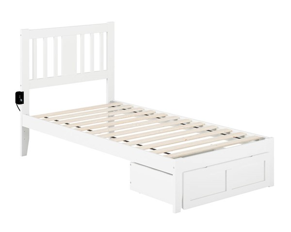 Atlantic Furniture Tahoe White Twin Foot Drawer Bed with USB Turbo Charger AG8912222