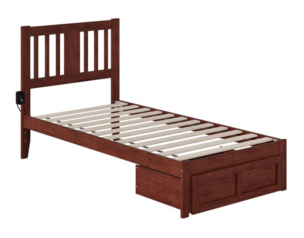 Atlantic Furniture Tahoe Walnut Twin Foot Drawer Bed with USB Turbo Charger AG8912224