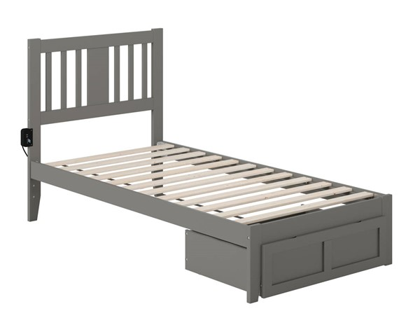Atlantic Furniture Tahoe Grey Twin Foot Drawer Bed with USB Turbo Charger AG8912229