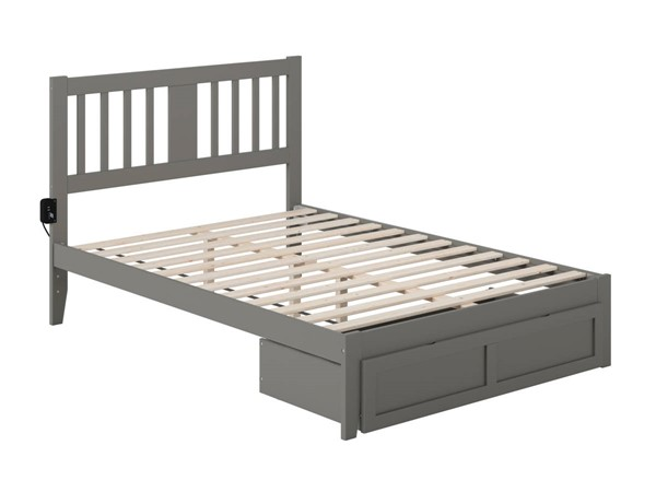 Atlantic Furniture Tahoe Grey Full Foot Drawer Bed with USB Turbo Charger AG8912339