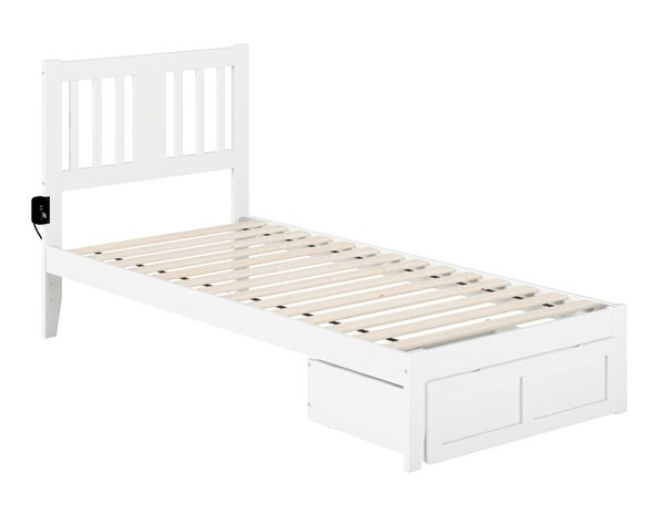 Atlantic Furniture Tahoe White Twin Extra Long Foot Drawer Bed With USB Turbo Charger AG8912412