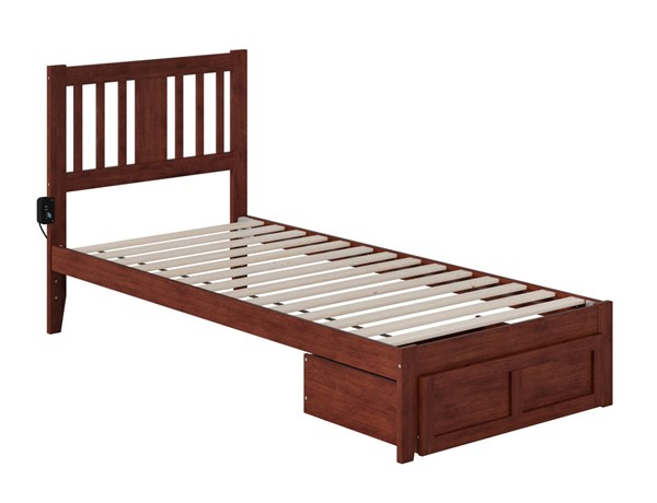 Atlantic Furniture Tahoe Walnut Twin Extra Long Foot Drawer Bed With USB Turbo Charger AG8912414