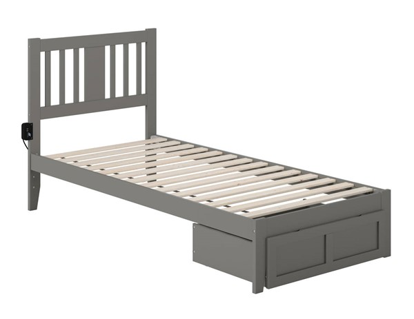 Atlantic Furniture Tahoe Grey Twin Extra Long Foot Drawer Bed With USB Turbo Charger AG8912419