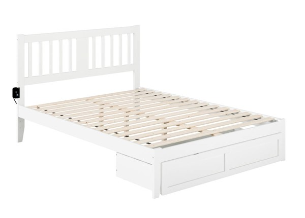Atlantic Furniture Tahoe White Queen Foot Drawer Bed With USB Turbo Charger AG8912442