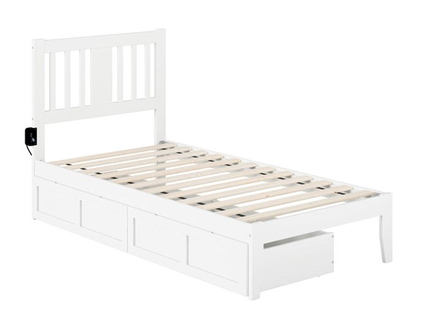 Atlantic Furniture Tahoe White Drawer Beds with USB Turbo Charger B08PVZ9JR-DRW-BED-VAR