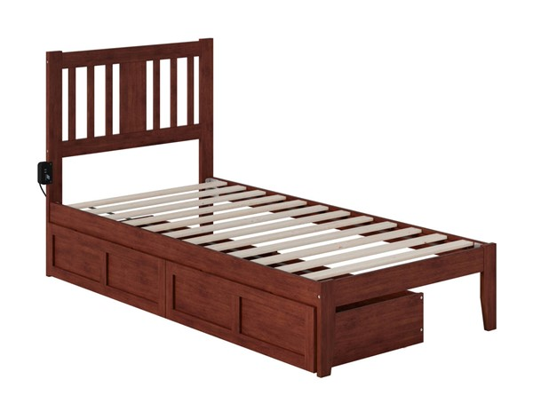 Atlantic Furniture Tahoe Walnut Twin Drawer Bed with USB Turbo Charger AG8913324