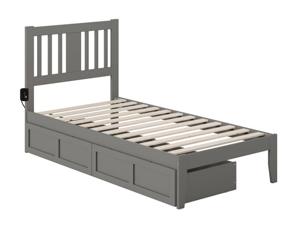 Atlantic Furniture Tahoe Grey Twin Drawer Bed with USB Turbo Charger AG8913329
