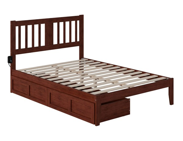 Atlantic Furniture Tahoe Walnut Full Drawer Bed with USB Turbo Charger AG8913334