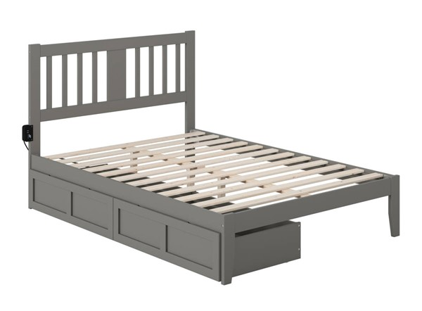 Atlantic Furniture Tahoe Grey Full Drawer Bed with USB Turbo Charger AG8913339