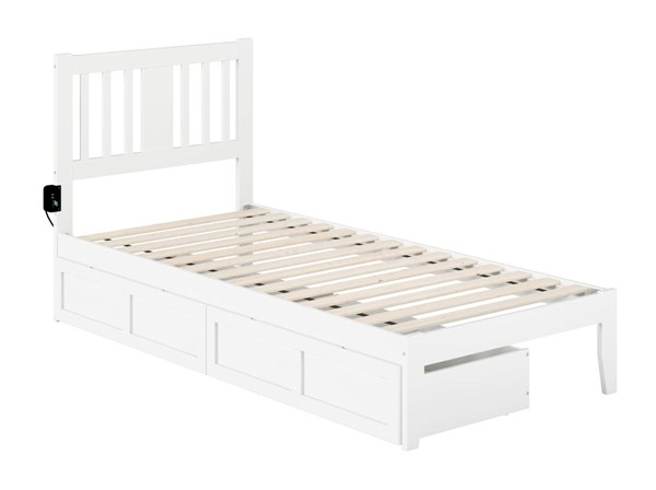 Atlantic Furniture Tahoe White Twin Extra Long Drawer Bed with USB Turbo Charger AG8913412
