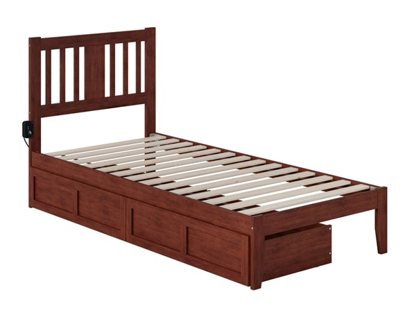 Atlantic Furniture Tahoe Walnut Twin Extra Long Drawer Bed with USB Turbo Charger AG8913414