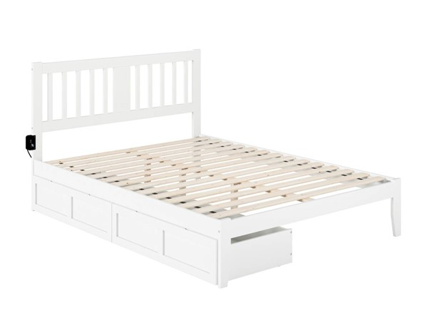 Atlantic Furniture Tahoe White Queen Drawer Bed with USB Turbo Charger AG8913442