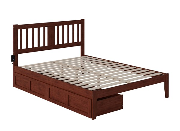 Atlantic Furniture Tahoe Walnut Queen Drawer Bed with USB Turbo Charger AG8913444