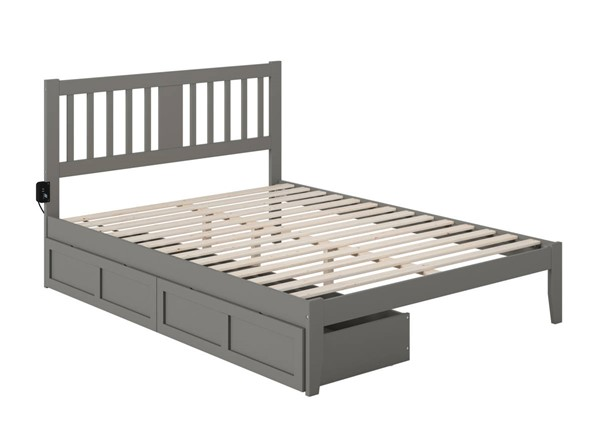 Atlantic Furniture Tahoe Grey Queen Drawer Bed with USB Turbo Charger AG8913449