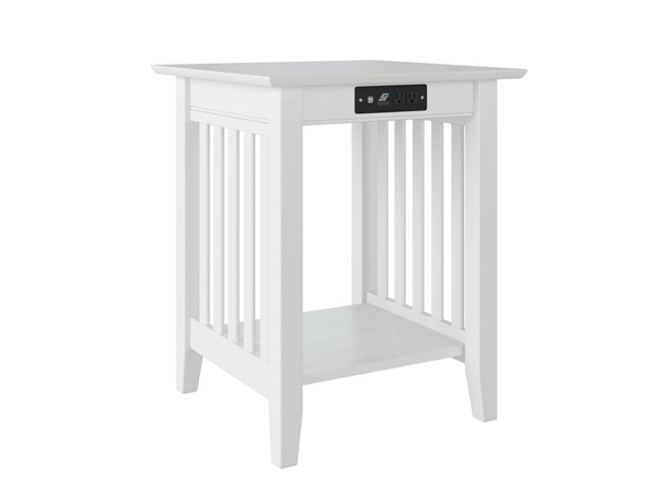 Atlantic Furniture Mission White Printer Stand with Charger AH10232