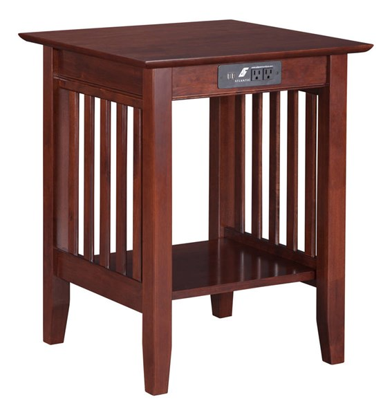 Atlantic Furniture Mission Walnut Printer Stand with Charging Station AH10234