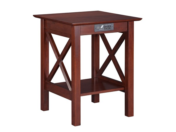 Atlantic Furniture Lexi Walnut Printer Stand with Charging Station AH10254