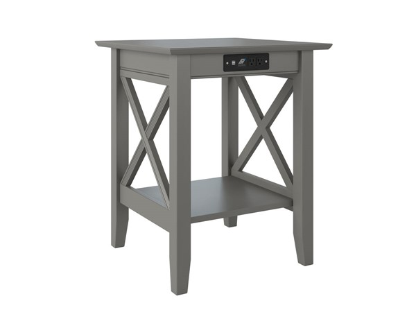 Atlantic Furniture Lexi Grey Printer Stand with Charger AH10259