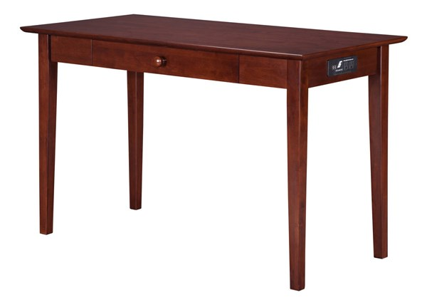 Atlantic Furniture Shaker Walnut Desk with Drawer and Charging Station AH12114