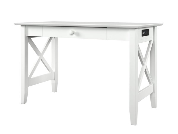 Atlantic Furniture Lexi White Drawer Desk with Charging Station AH12242