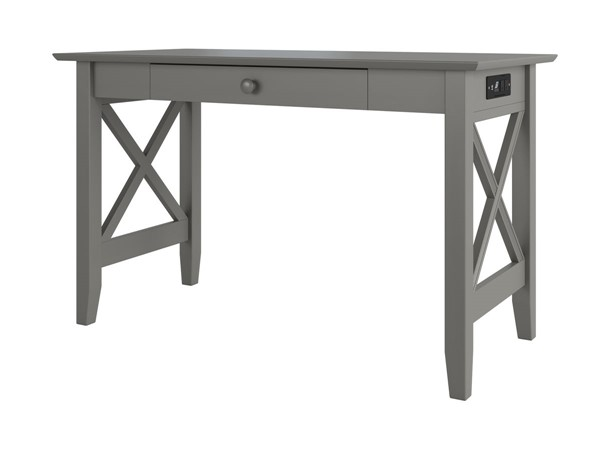 Atlantic Furniture Lexi Grey Drawer Desk with Charger Station AH12249