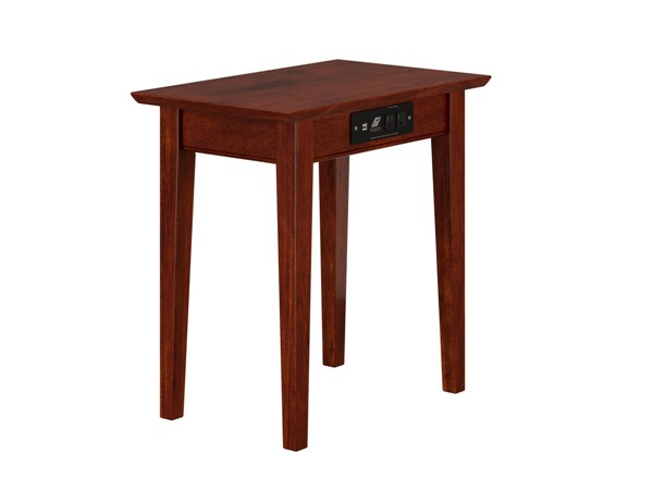 Atlantic Furniture Shaker Walnut Chair Side Table with Charger AH13114
