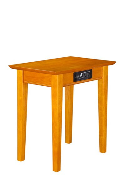Atlantic Furniture Shaker Caramel Latte Chair Side Table with Charger AH13117