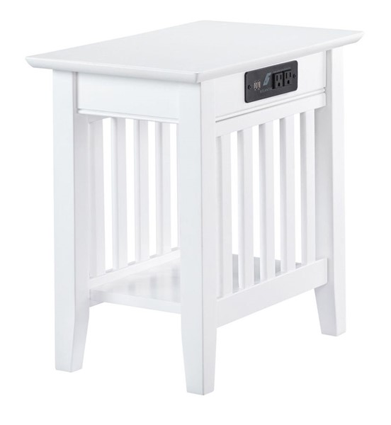 Atlantic Furniture Mission White Chair Side Table With Charger AH13212