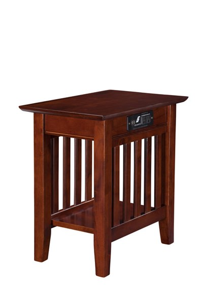 Mission Walnut Solid Wood USB Charging Ports Chair Side Table AH13214