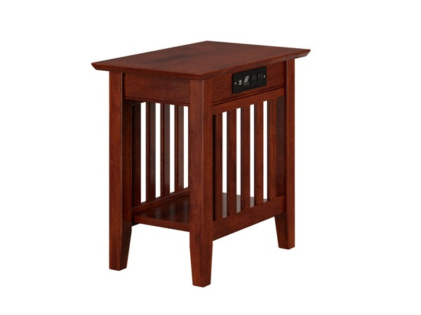 Atlantic Furniture Mission Walnut Chair Side Table with Charger AH13214