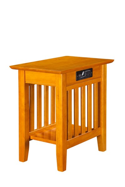 Mission Caramel Solid Wood Mission USB Charging Ports Chair Side Table AH13217
